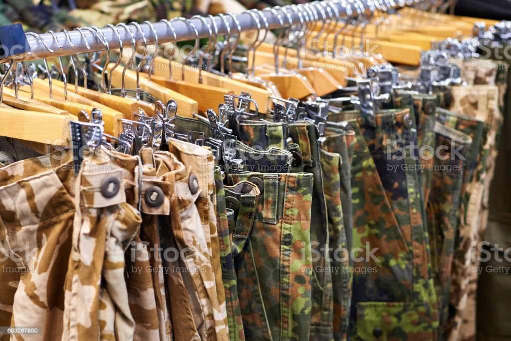 Clothing for hunting and fishing in store stock photo