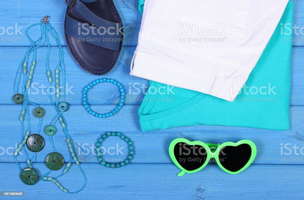 Clothing for woman and accessories for vacation and summer stock photo