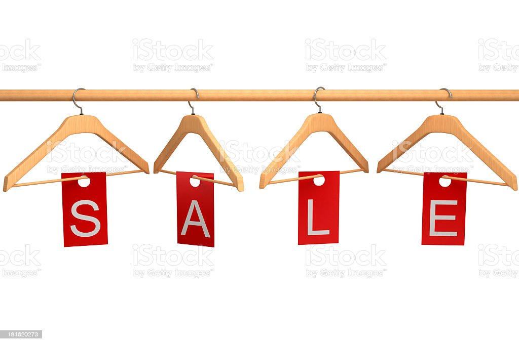 Clothing Hangers with Sale Tag royalty-free stock photo