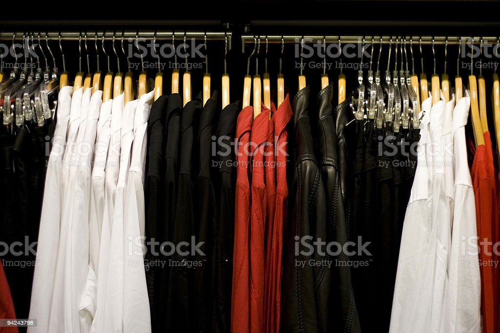 Clothing in a retail store royalty-free stock photo