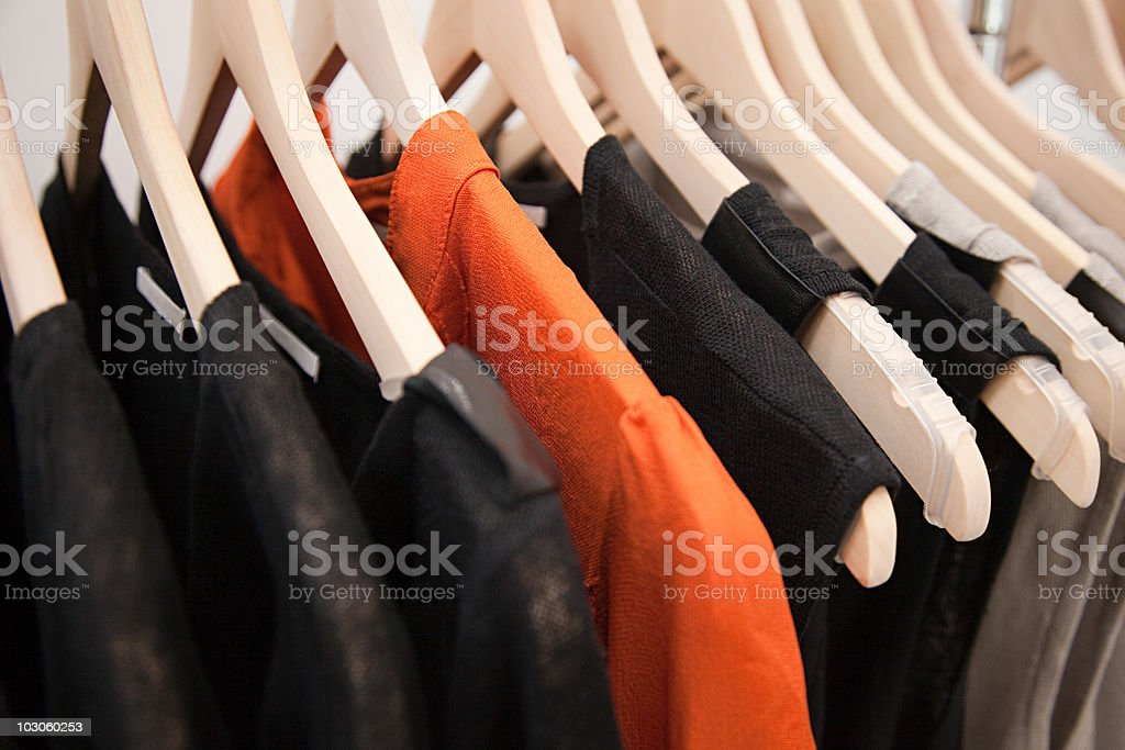 Clothing on a rail stock photo