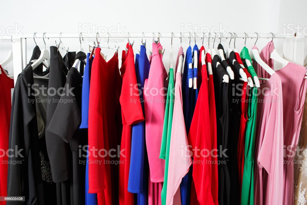 Clothing on hanger at the modern shop boutique stock photo