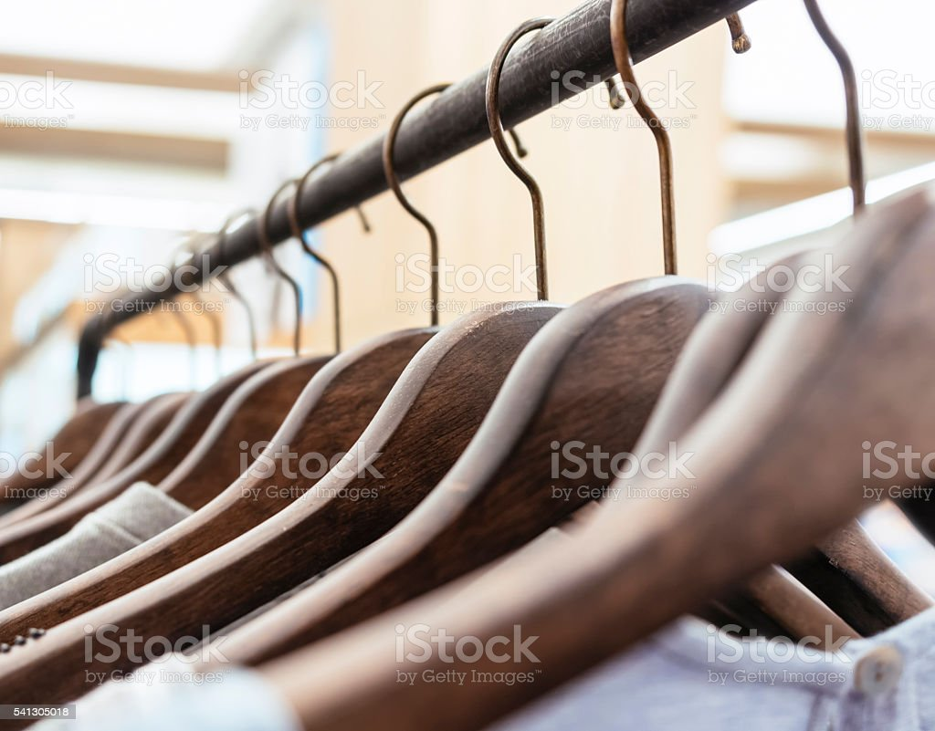 Clothing on Hangers Fashion retail Display Shop stock photo