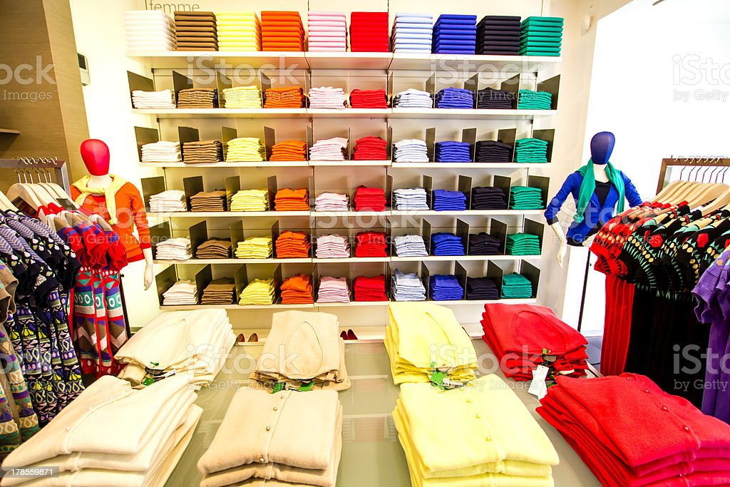 Clothing section in the department store stock photo