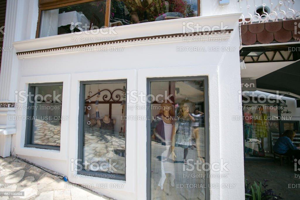 Clothing shop in Kalkan Turkey stock photo
