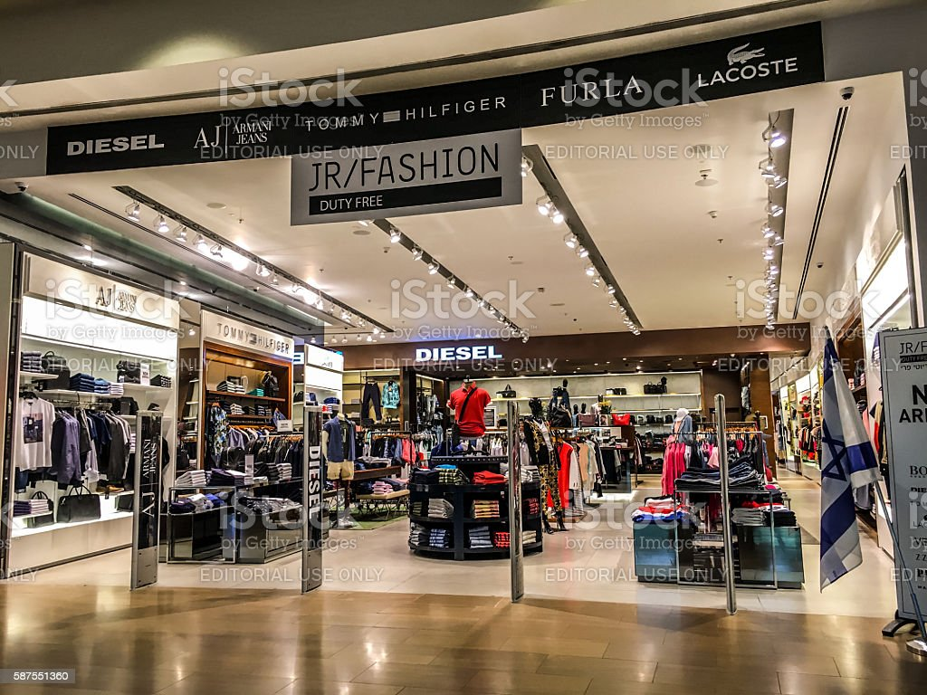 Clothing store in Ben Gurion Airport, Tel Aviv, Israel stock photo