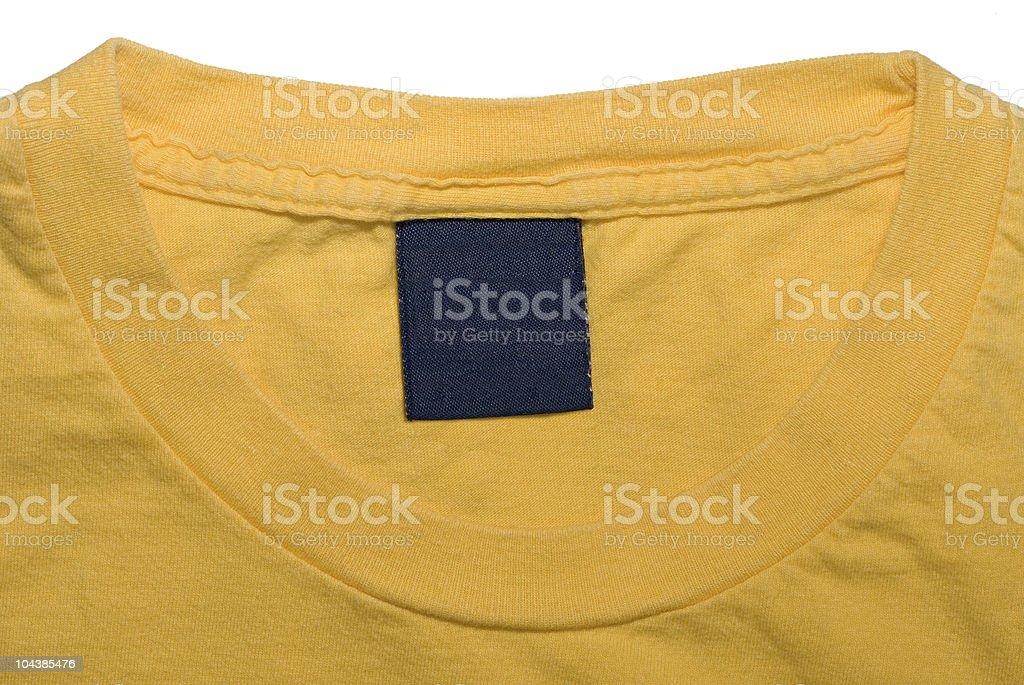Clothing Tag of Yellow Shirt royalty-free stock photo