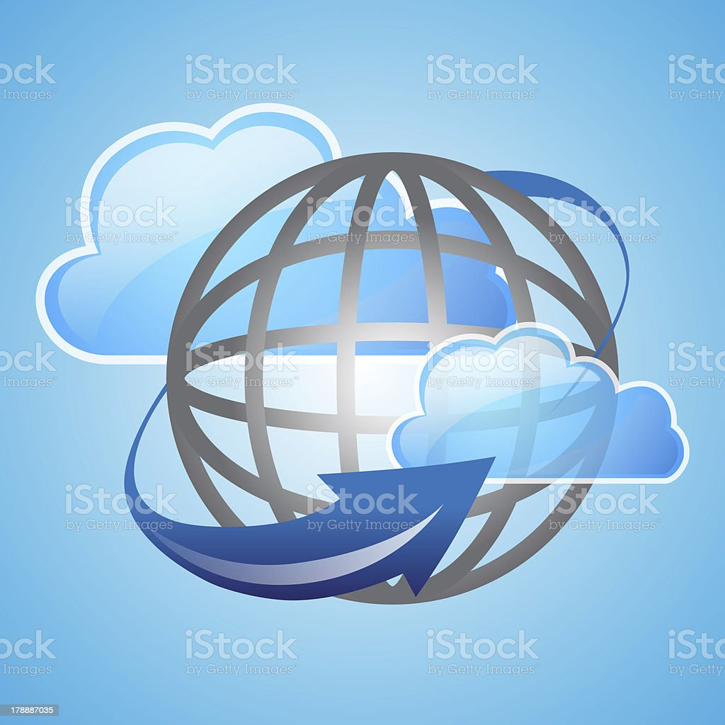 cloud and global with arrow royalty-free stock photo