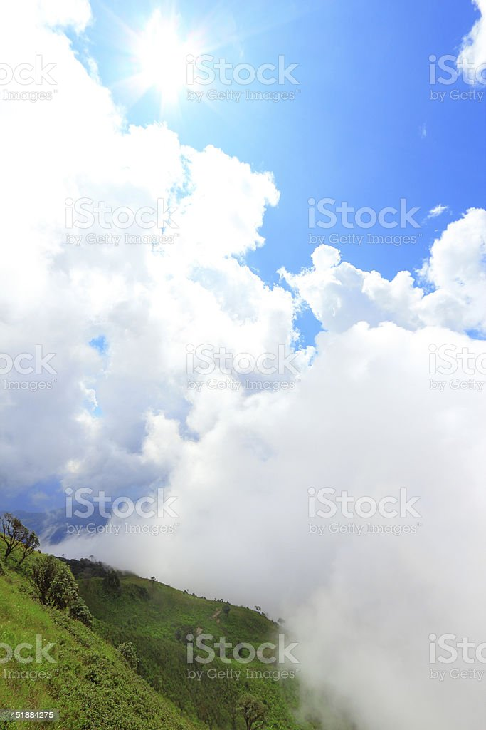 Cloud and mountain with sun royalty-free stock photo