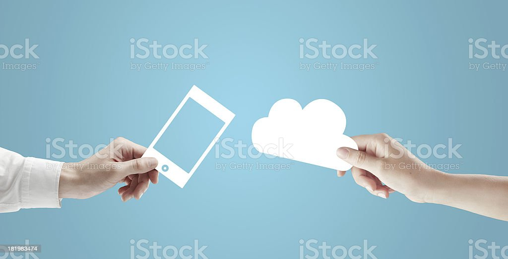cloud and phone royalty-free stock photo