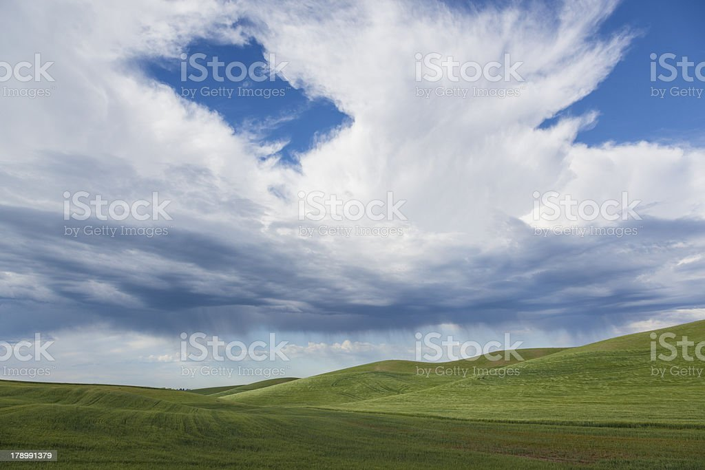 Cloud and Rain Shower on Farmland royalty-free stock photo