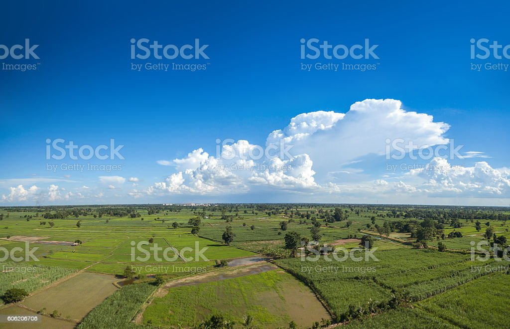 cloud and sky Aerial view with skyline background stock photo