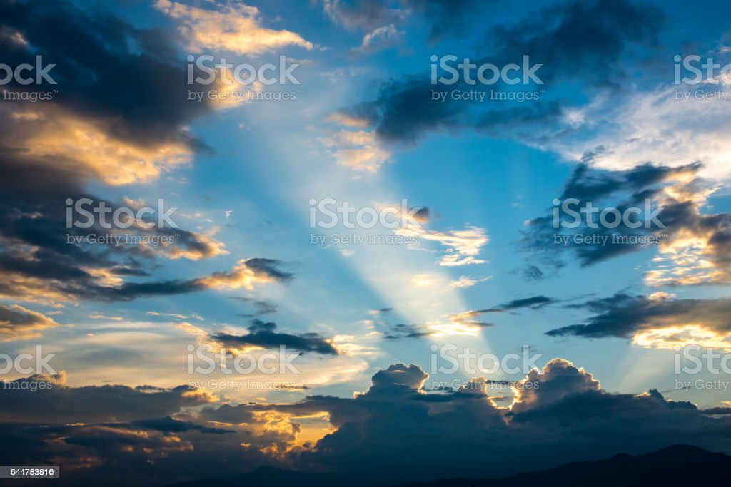 cloud and sky with sun beam light , amazing cloud photo of country side of Thailand stock photo