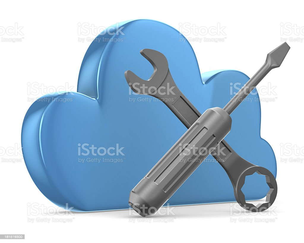 Cloud and tools on white background. Isolated 3D image royalty-free stock photo