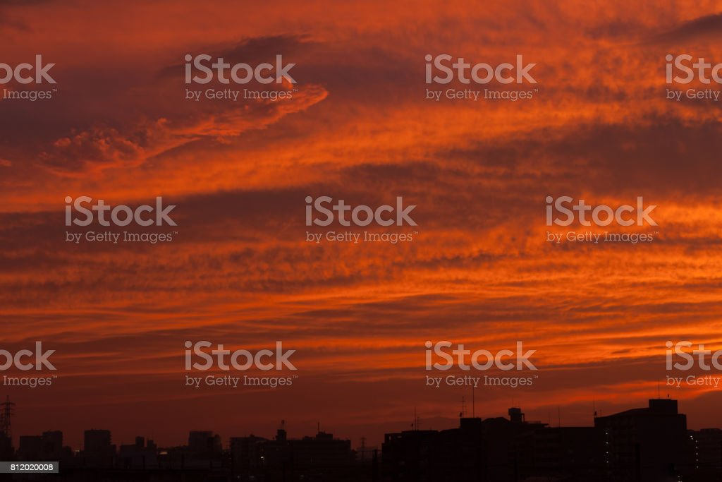 Cloud at dusk of Japan. stock photo