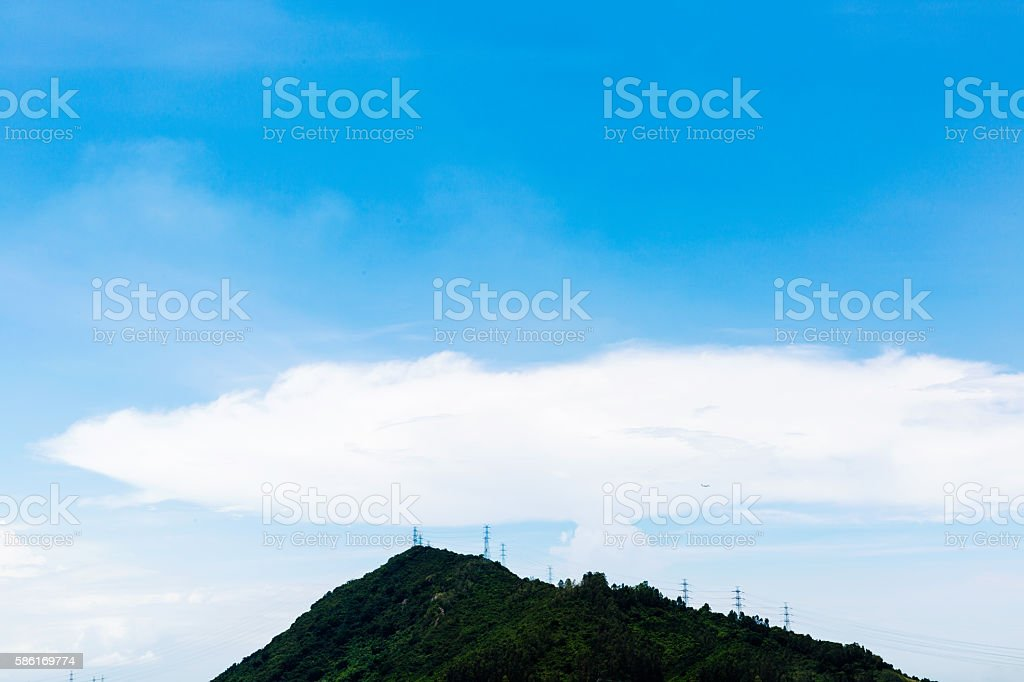 cloud blue sky and mountain stock photo