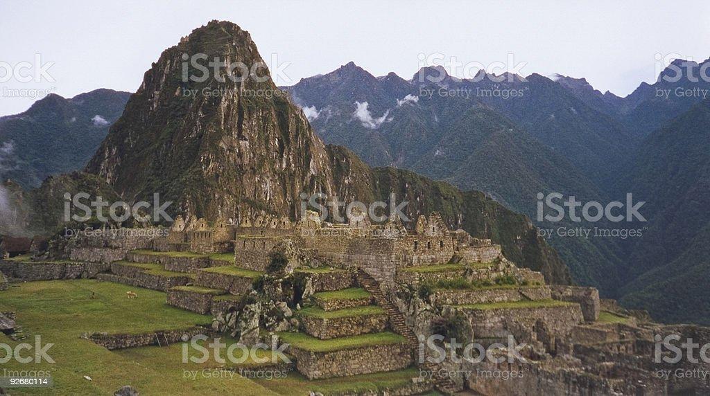 cloud city Machu Picchu ruins Peru royalty-free stock photo