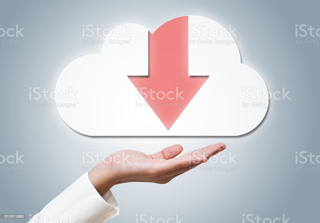 Cloud computer download / Touch screen concept (Click for more) stock photo
