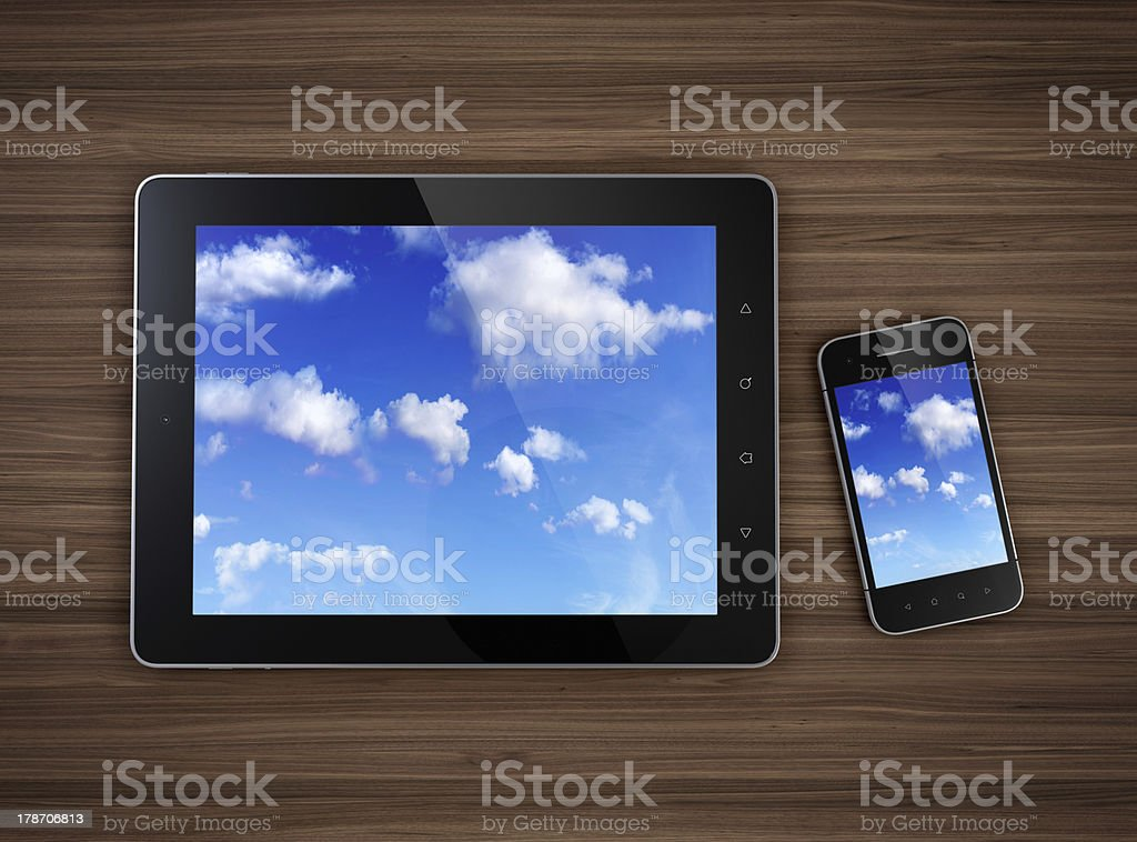 Cloud computing abstract on tablet PC and phone royalty-free stock photo