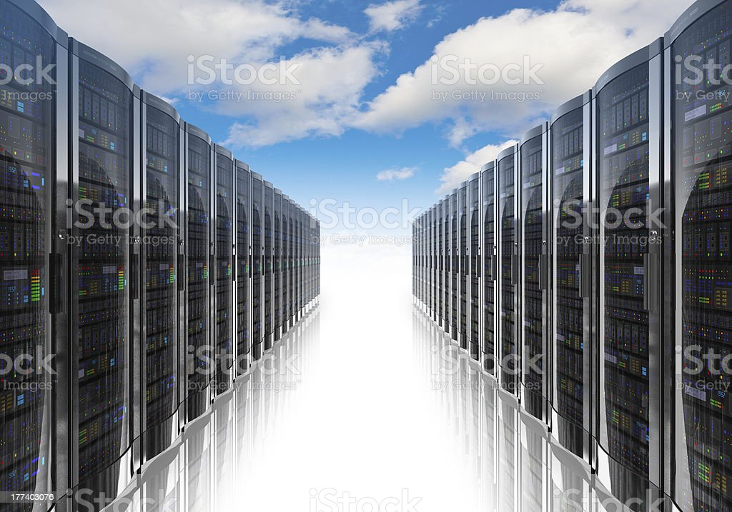 Cloud computing and computer networking concept stock photo