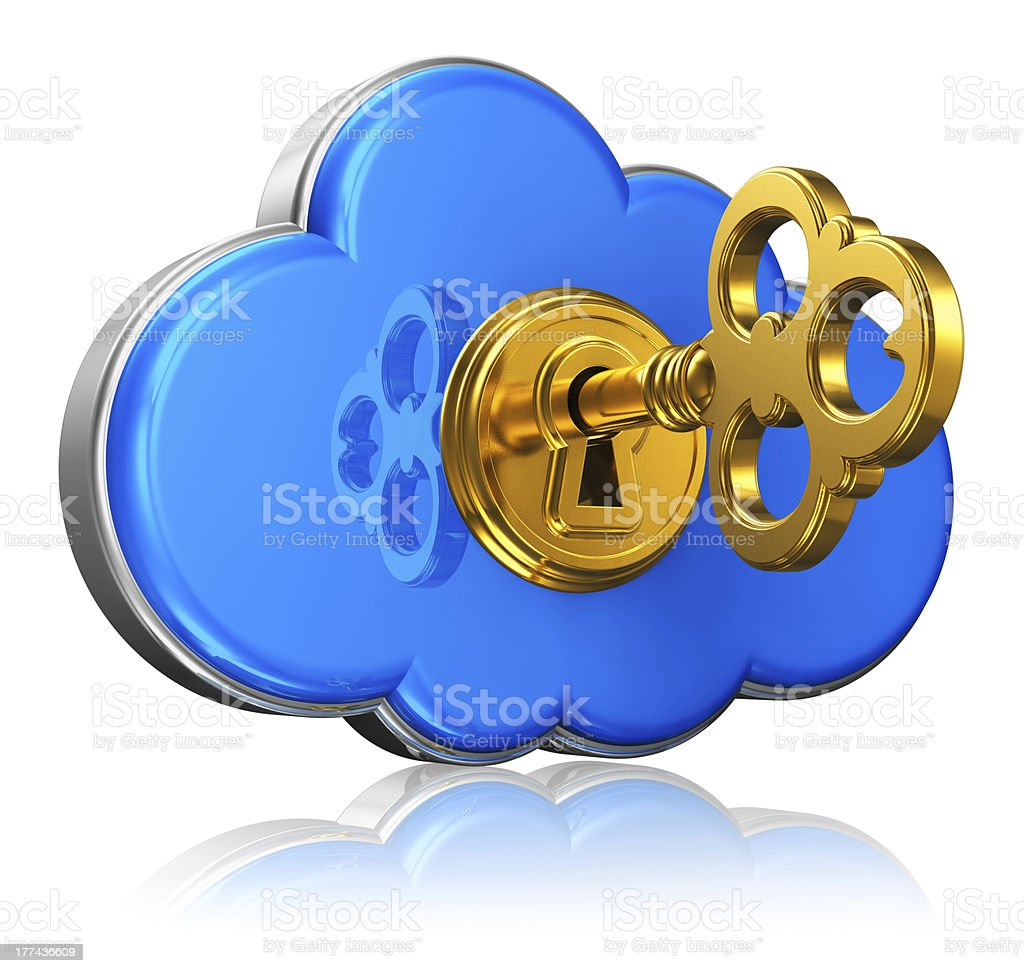 Cloud computing and storage security concept stock photo