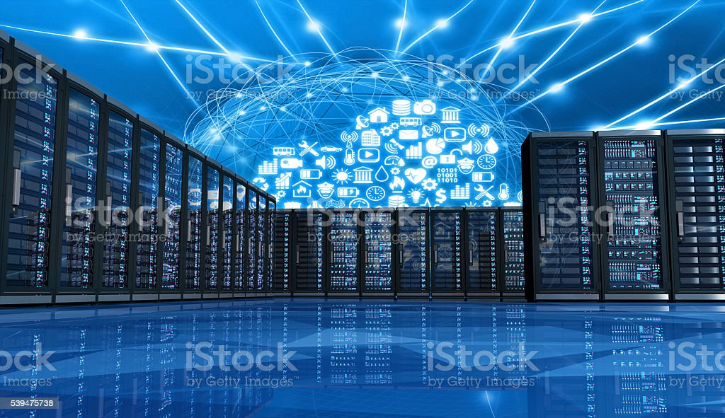 Cloud computing applications linking computer servers in a data center stock photo