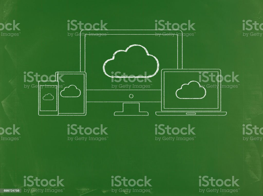 Cloud Computing - Business Chalkboard Background stock photo