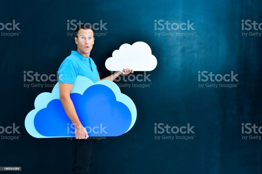 Cloud computing: choosing big or small space royalty-free stock photo