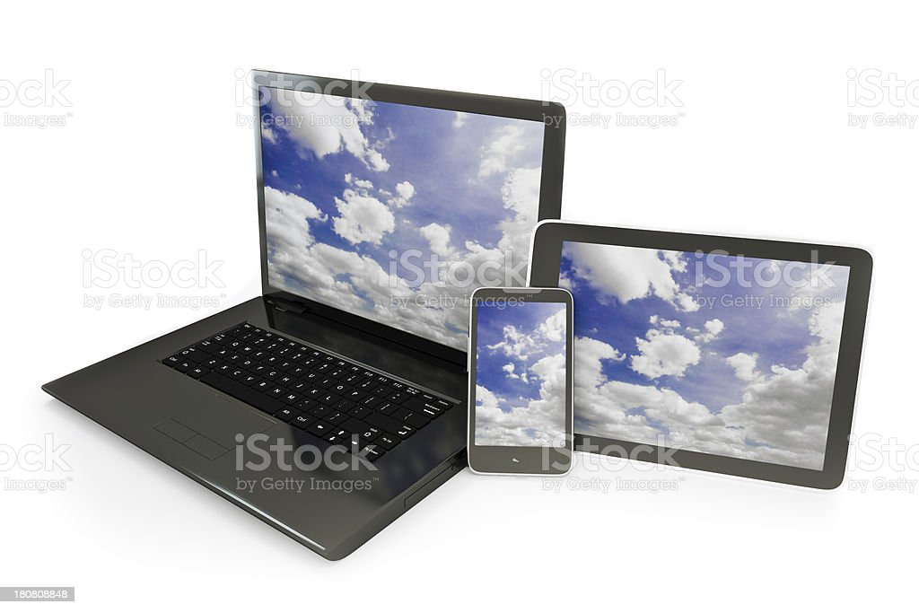 Cloud computing clipping paths stock photo