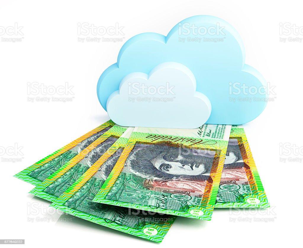 Cloud computing concept, Australian dollar stock photo