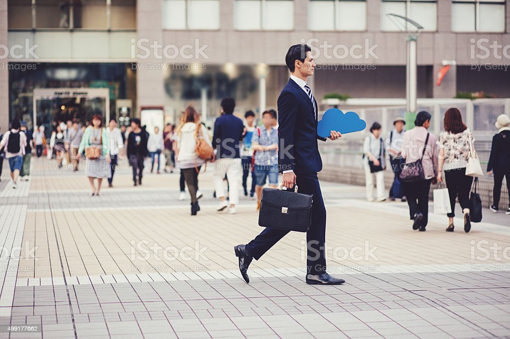 Cloud Computing concept in the crowd stock photo