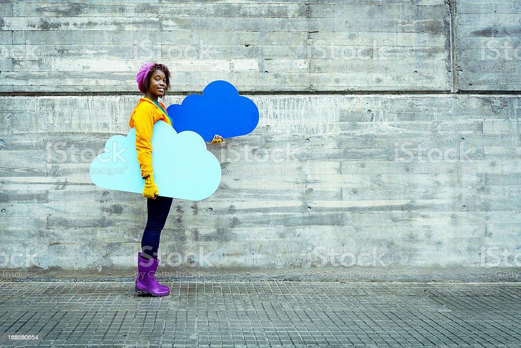 Cloud computing concept in urban scene stock photo