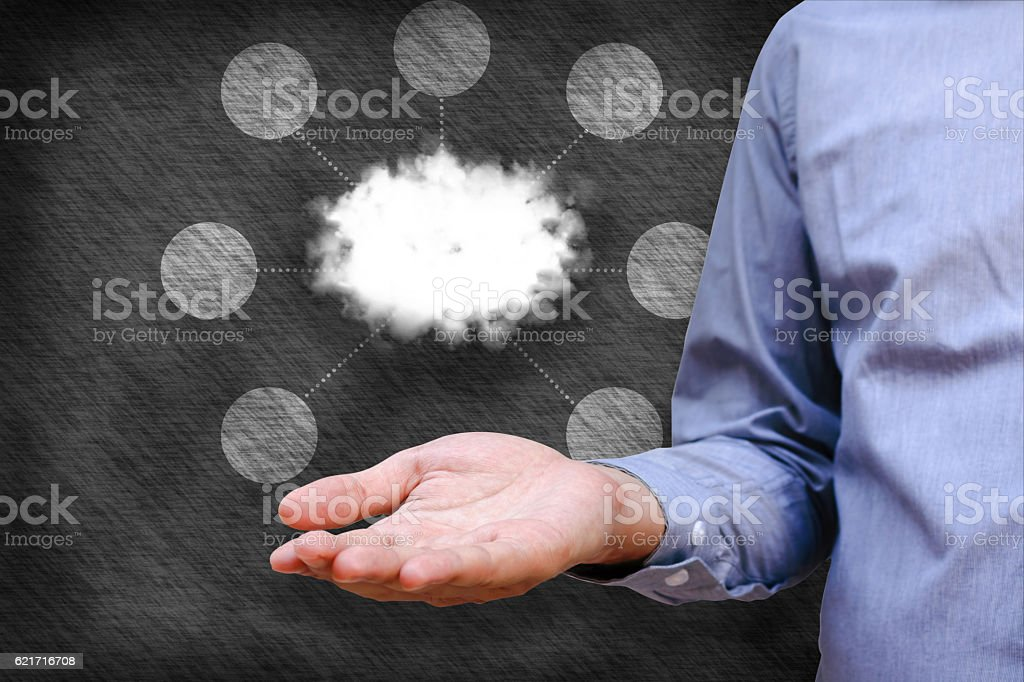 Cloud computing concept, Man hand holding cloud and network link stock photo