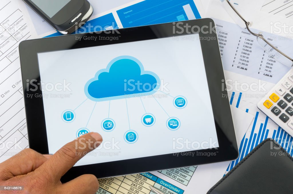 Cloud computing concept on a digital tablet stock photo