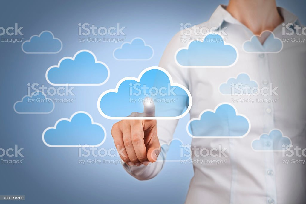 Cloud Computing Concept on Blue Background stock photo