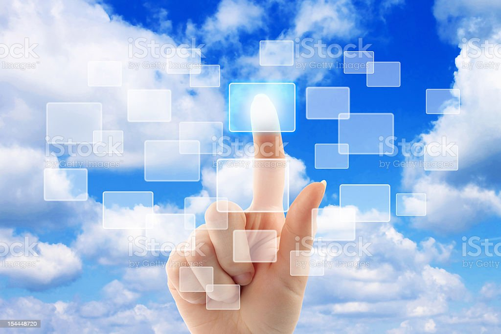 Cloud computing concept with woman hand royalty-free stock photo