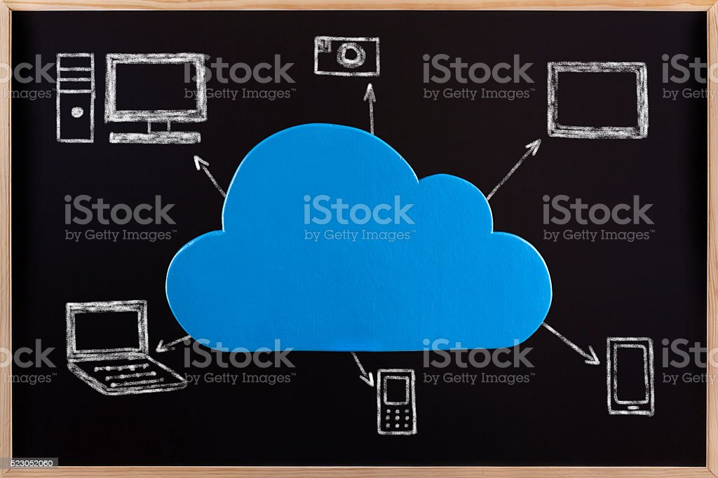 Cloud Computing Conceptual on Blackboard stock photo