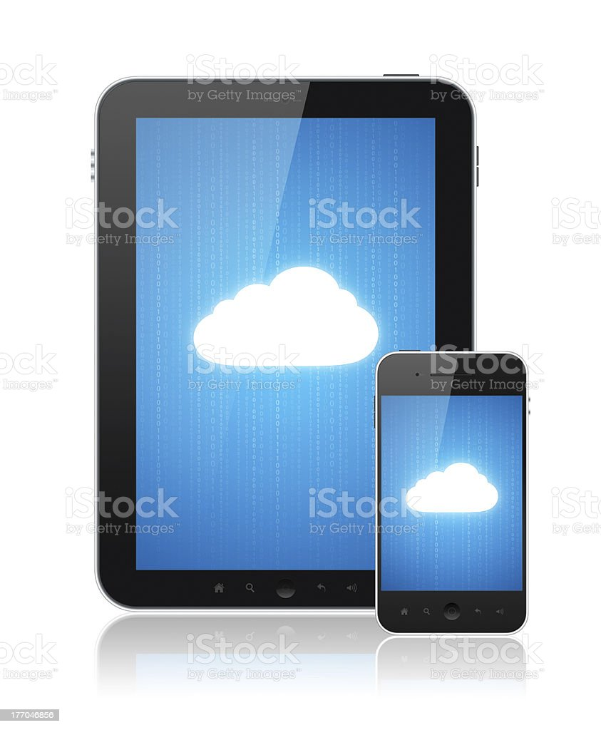 Cloud Computing Connection On Modern Devices royalty-free stock photo