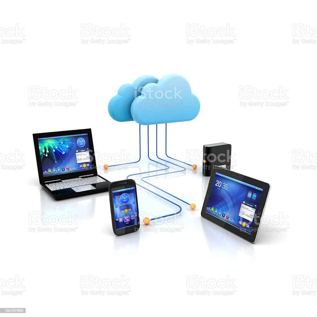 Cloud computing devices royalty-free stock photo