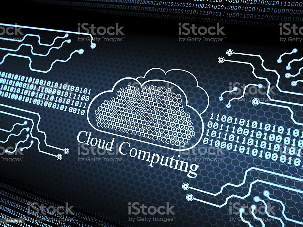 Cloud computing digital background stock photo