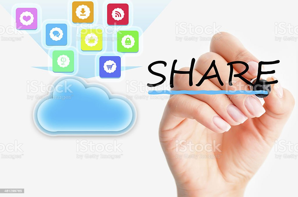 Cloud computing file sharing stock photo