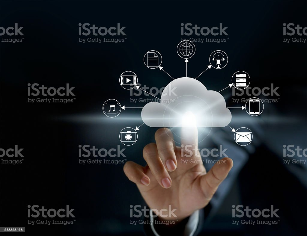 Cloud computing, futuristic display technology connectivity concept stock photo