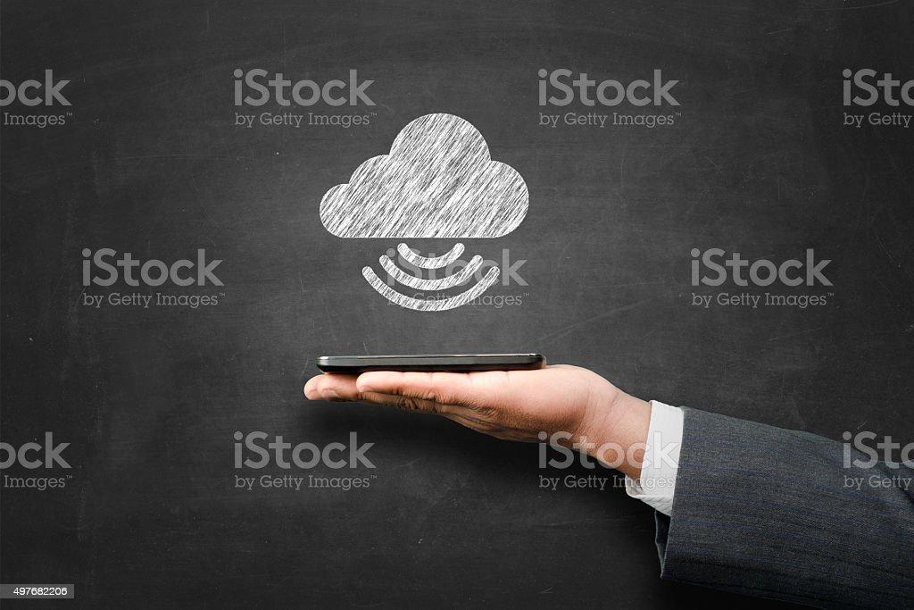 Cloud computing in blackboard stock photo