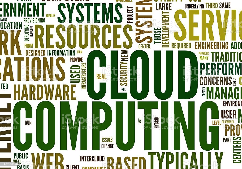 Cloud computing in word tag stock photo