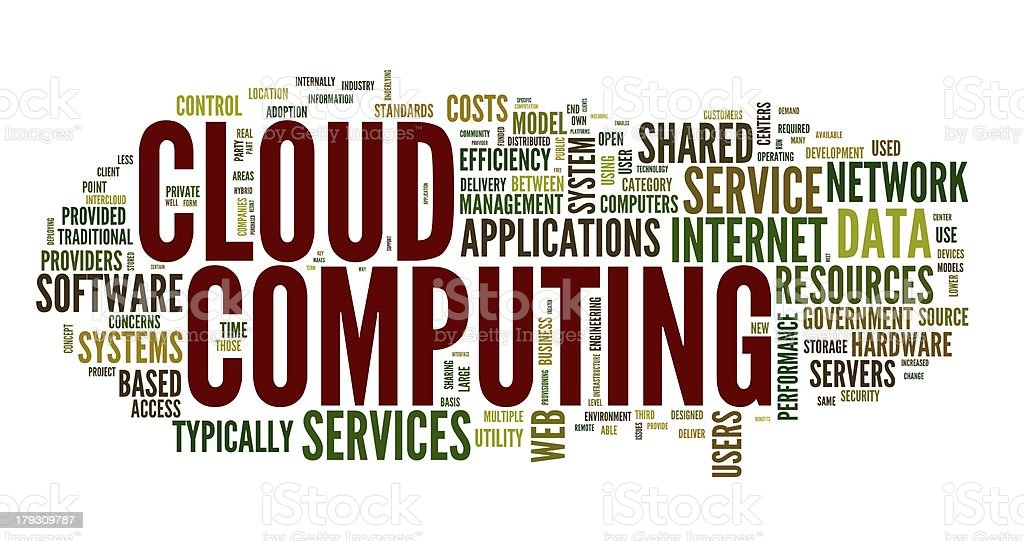 Cloud computing in word tag royalty-free stock photo