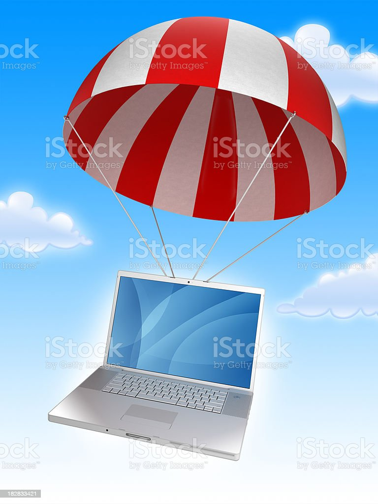 Cloud computing: Laptop in parachute - with clipping path royalty-free stock photo
