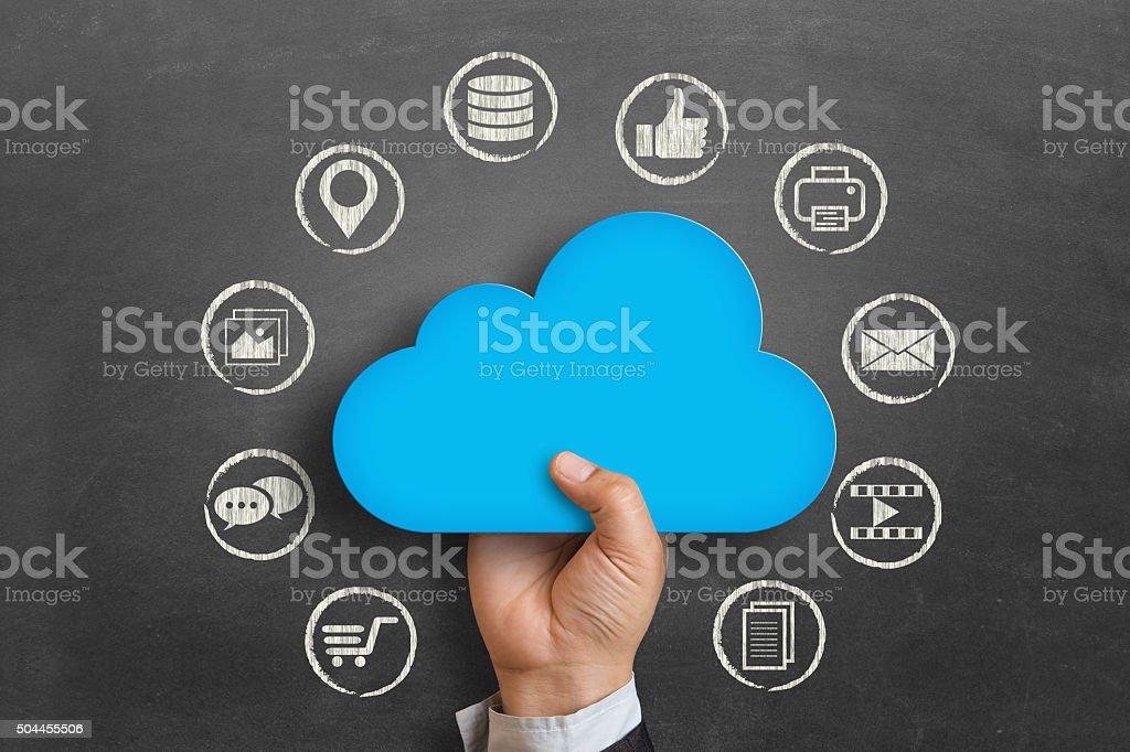 Cloud computing on blackboard stock photo