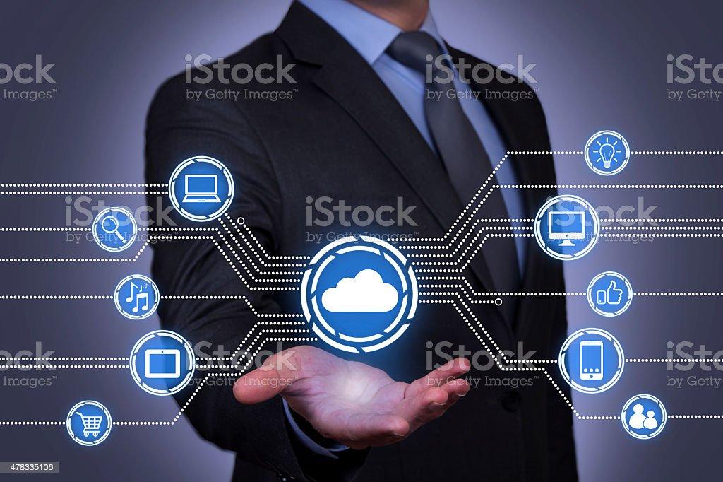 Cloud Computing on Businessman Hand stock photo
