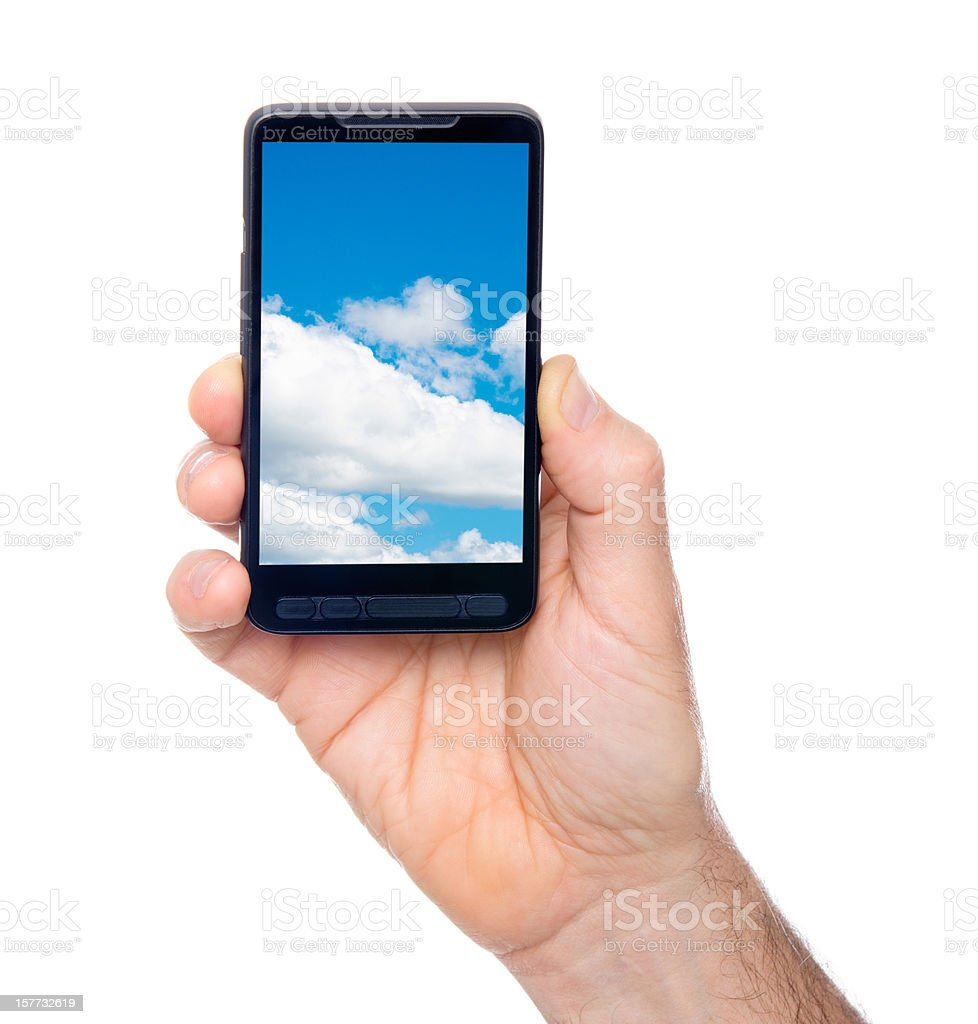 Cloud computing on contemporary smartphone royalty-free stock photo