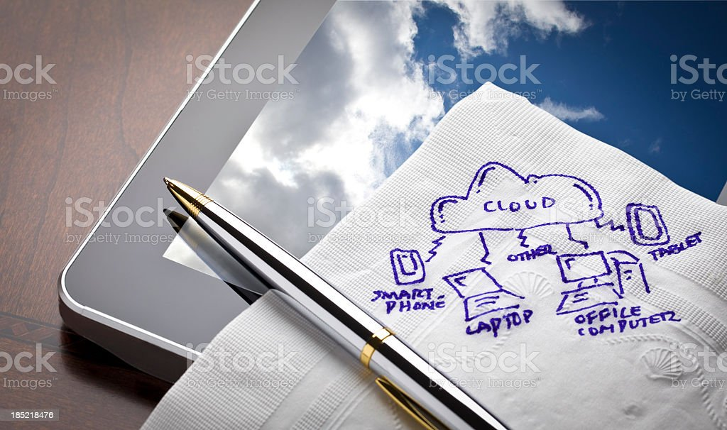 Cloud Computing on Digital Tablet stock photo